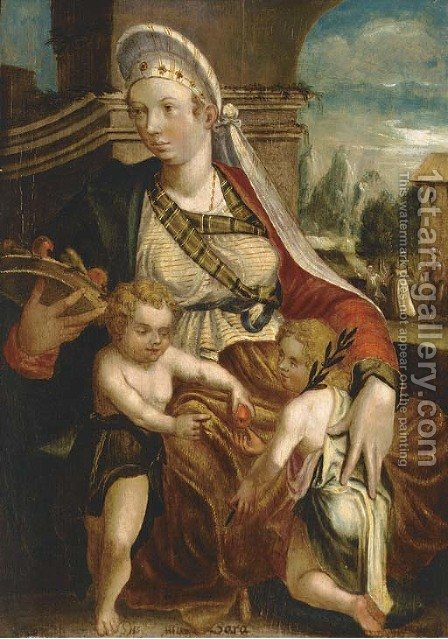 Sarah, Issac and a boy, with the banishment of Hagar and Ishmael beyond by (after) Jakob Seisenegger - Reproduction Oil Painting