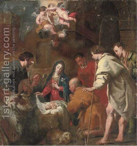 The Adoration of the Shepherds by (after) Jacob Van, The Elder Oost - Reproduction Oil Painting