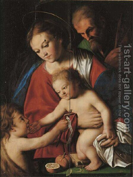 The Holy Family with the Infant Saint John the Baptist by (after) Jacob Van, The Elder Oost - Reproduction Oil Painting