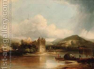 Figures boating on a lake, a ruined castle beyond by (after) James Baker Pyne - Reproduction Oil Painting