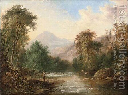 An angler in a mountainous river landscape by (after) James Burrell Smith - Reproduction Oil Painting