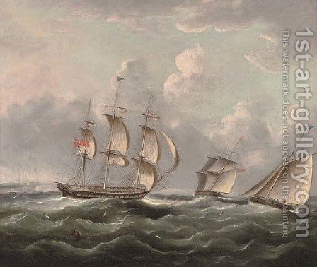 Ships of the Royal Navy running up the coast passing a headland by (after) James E. Buttersworth - Reproduction Oil Painting