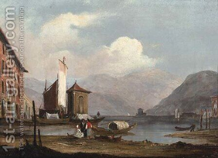 Figures on the bank of an Italianate lake by (after) James Holland - Reproduction Oil Painting