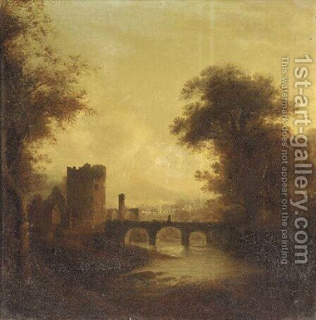 A ruined abbey and bridge in a river landscape with a town beyond by (after) James Stark - Reproduction Oil Painting