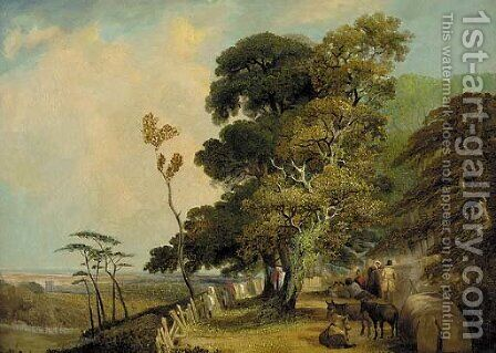 A wayside encampment by (after) James Stark - Reproduction Oil Painting