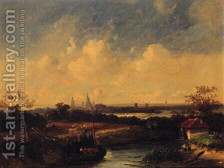 Figures on a Hay Barge with Windmills and a Church beyond by (after) James Stark - Reproduction Oil Painting