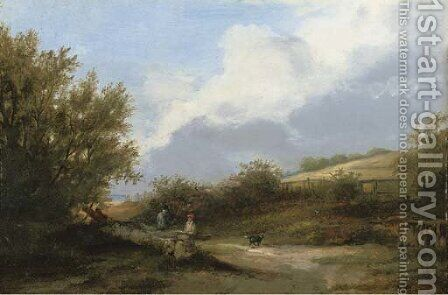 Figures resting on a wayside, near Bradeston by (after) James Stark - Reproduction Oil Painting