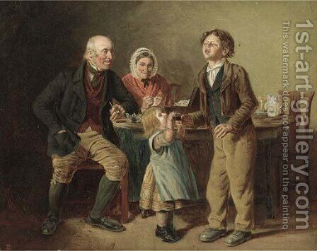 The first pinch of snuff by (after) James William Cole - Reproduction Oil Painting