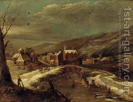 A winter landscape with a village by a river by (after) Jan Abrahamsz. Beerstraten - Reproduction Oil Painting