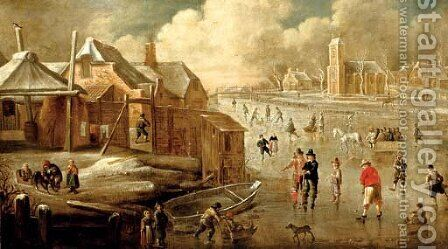 A frozen canal with skaters and men playing kolf by (after) Jan Abrahamsz. Beerstraten - Reproduction Oil Painting