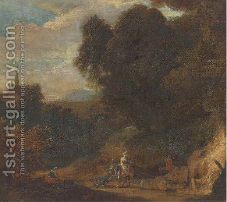 A wooded landscape with travellers on a track by (after) Jan Baptist Huysmans - Reproduction Oil Painting