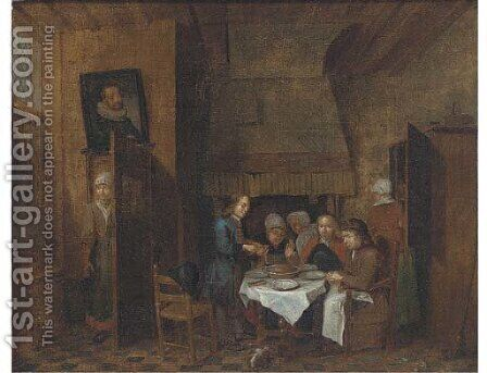 A dining room interior with a group eating by (after) Jan Baptist Lambrechts - Reproduction Oil Painting