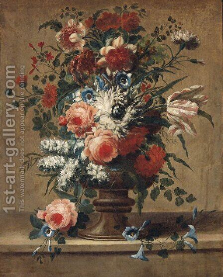 Flowers in a vase on a stone ledge by (after) Jan Baptiste Bosschaert II - Reproduction Oil Painting