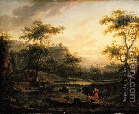 A river landscape with a washerwoman and a herder resting by (after) Jan Both - Reproduction Oil Painting