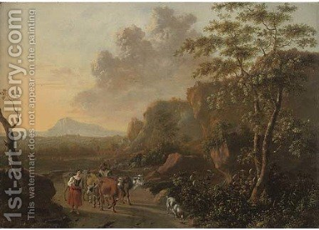 An Italianate mountainous landscape with herdsmen on a path by (after) Jan Both - Reproduction Oil Painting
