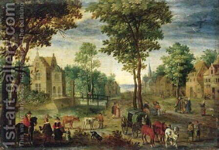 A horseman conversing with elegant company by (after) Jan The Elder Brueghel - Reproduction Oil Painting