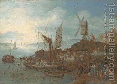 A river landscape with villagers and boats at a landing stage by a windmill by (after) Jan, The Younger Brueghel - Reproduction Oil Painting