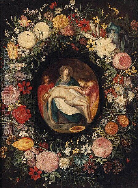 The Lamentation in a medallion surrounded by a garland of flowers by (after) Jan, The Younger Brueghel - Reproduction Oil Painting