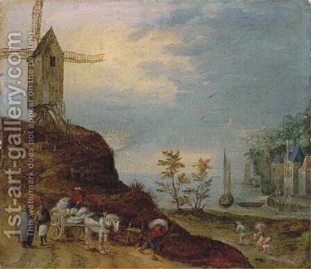 An extensive river landscape with a windmill and travellers on a path by (after) Jan The Elder Brueghel - Reproduction Oil Painting