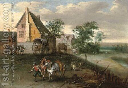A landscape with farm labourers, their horses and wagons, buildings beyond by (after) Jan, The Younger Brueghel - Reproduction Oil Painting