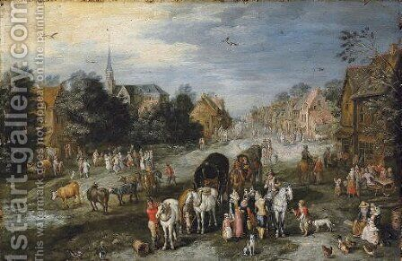 A village landscape with a kermesse by (after) Jan, The Younger Brueghel - Reproduction Oil Painting