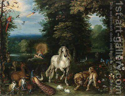 Animals and birds in the Garden of Eden, the Creation of Eve beyond by (after) Jan, The Younger Brueghel - Reproduction Oil Painting