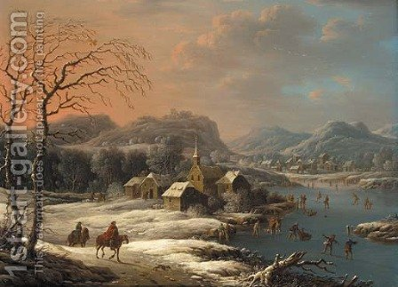 A mountainous winter landscape with ice skaters on a lake near a village by (after) Johann Christian Vollerdt Or Vollaert - Reproduction Oil Painting