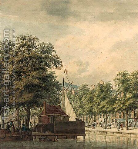 A view of a canal in a town (Amsterdam ) by (after) Jan De Beijer - Reproduction Oil Painting