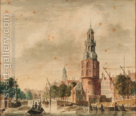 A view of the Oude Schans with the Montelbaanstoren, Amsterdam, the tower of the Zuiderkerk beyond by (after) Jan De Beijer - Reproduction Oil Painting