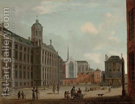 The Dam, Amsterdam, with the Town Hall and the Waag by (after) Jan The Elder Ekels - Reproduction Oil Painting