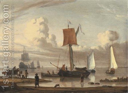 Dutch shipping by a shore with figures unloading a wagon by (after) Jacob Esselens - Reproduction Oil Painting