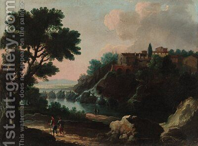 Travellers before a waterfall in a river landscape; and Peasants on a path in a river landscape with a town beyond by (after) Jan Frans Van Orizzonte (see Bloemen) - Reproduction Oil Painting