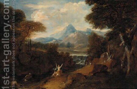 A classical landscape with Venus surprised by satyrs by (after) Jan Frans Van Orizzonte (see Bloemen) - Reproduction Oil Painting