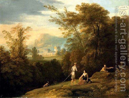 A landscape with shepherds, a town beyond by (after) Jan Frans Van Orizzonte (see Bloemen) - Reproduction Oil Painting