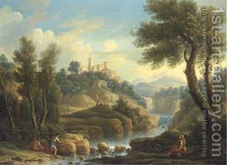 A mountainous river landscape with fishermen and other figures, a hilltop town beyond by (after) Jan Frans Van Orizzonte (see Bloemen) - Reproduction Oil Painting