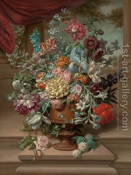 Parrot tulips, carnations, morning glory, narcissi and other flowers in an urn on a plinth by a partly-draped colonnade by (after) Jan Frans Van Dael - Reproduction Oil Painting