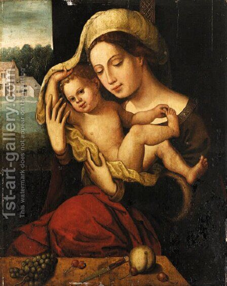 The Virgin and Child by (after) Jan (Mabuse) Gossaert - Reproduction Oil Painting
