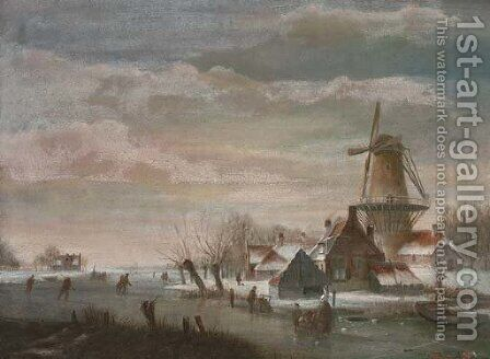 Skaters by a windmill in a Dutch winter landscape by (after) Jan Jacob Coenraad Spohler - Reproduction Oil Painting
