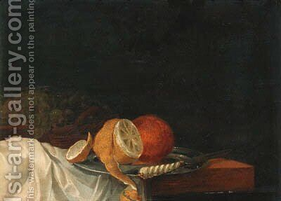 A peeled lemon, an orange and a knife on a pewter plate by (after) Jan III Van De Velde - Reproduction Oil Painting