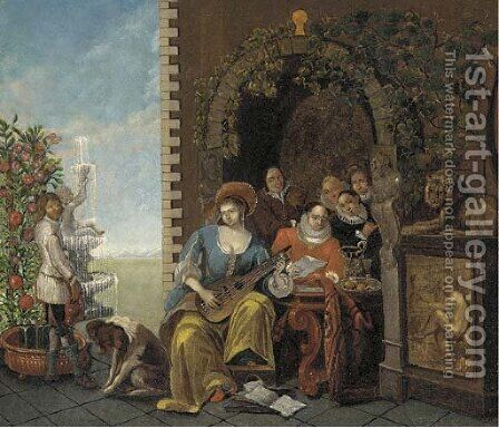 A musical party in a garden by (after) Jan Josef, The Elder Horemans - Reproduction Oil Painting