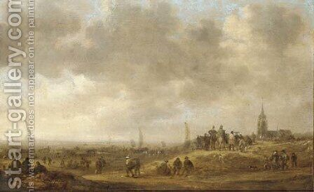 A coastal landscape with figures on the dunes, a church beyond by (after) Jan Van Goyen - Reproduction Oil Painting