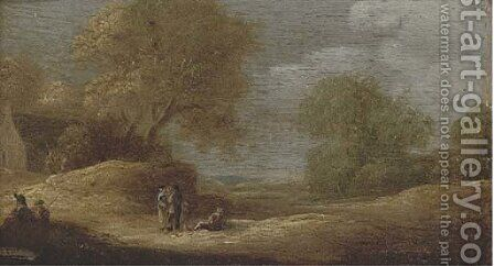A dune landscape with figures conversing on a track by (after) Jan Van Goyen - Reproduction Oil Painting