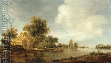 A river landscape with a boat and cottages on an embankment by (after) Jan Van Goyen - Reproduction Oil Painting