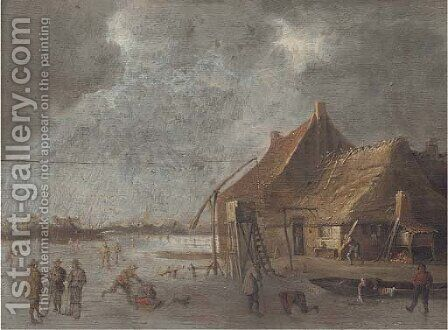 A winter landscape with skaters and kolf players by a village on a frozen lake by (after) Jan Van Goyen - Reproduction Oil Painting