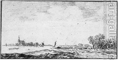 An extensive River Landscape with a Church in the Distance by (after) Jan Van Goyen - Reproduction Oil Painting