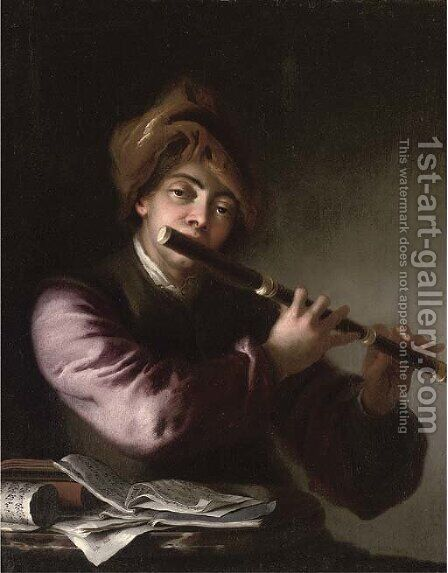 A man playing the flute by a table with sheet music by (after) Jan Kupetzki - Reproduction Oil Painting