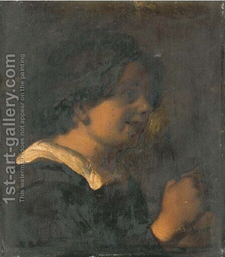 A young boy, bust-length, playing a rommelpot by (after) Jan Lievens - Reproduction Oil Painting