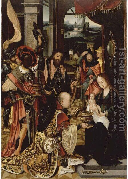 The Adoration of the Magi 2 by (after) Jan Van Dornicke - Reproduction Oil Painting