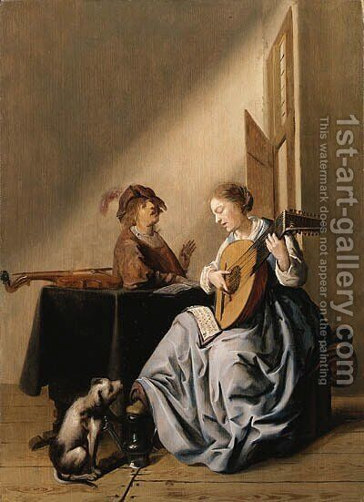 A young Woman playing a Lute with a Youth singing in an Interior by (after) Jan Miense Molenaer - Reproduction Oil Painting