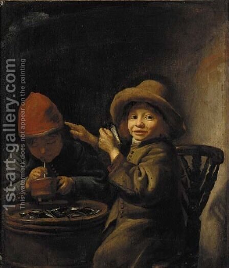 A boy eating mussels, another lighting a pipe by (after) Jan Miese Molenaer - Reproduction Oil Painting